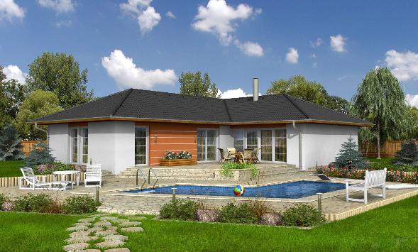 Bungalow, umgeben von grünem Garten. Häuser vom Bauträger, von Baufirmen, Bauunternehmen im Ostalbkreis.